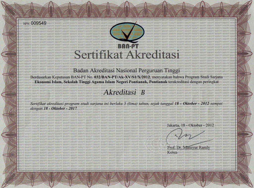 Akreditasi Prodi Ekonomi Islam 2012-2017